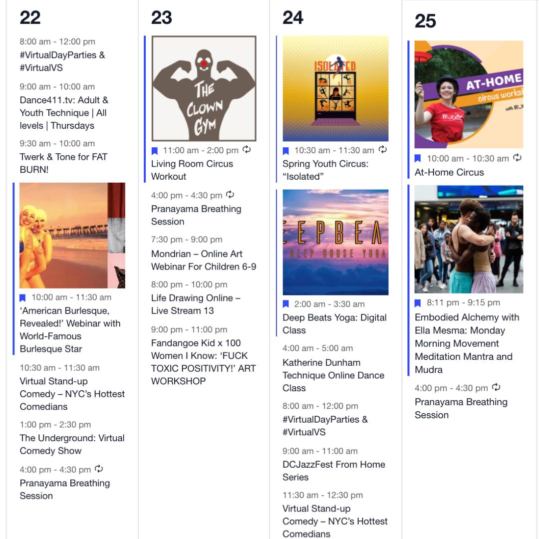 Cyber Circus Online Event Calendar